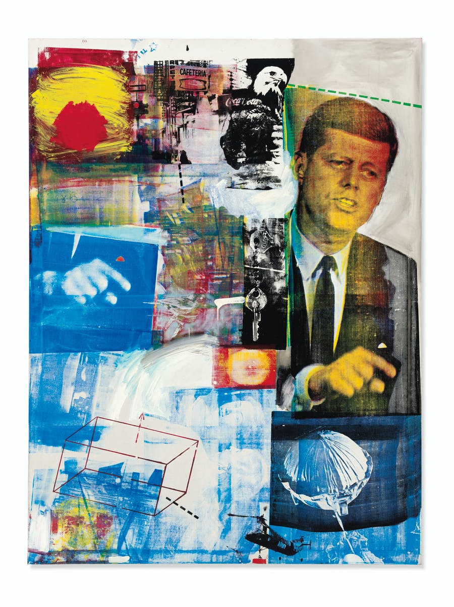 Buffalo II, Robert Rauschenberg. 1964, Oil and silkscreen ink on canvas. © 2019 Robert Rauschenberg Foundation / Licensed by VAGA at Artists Right Society (ARS), New York via Christie's