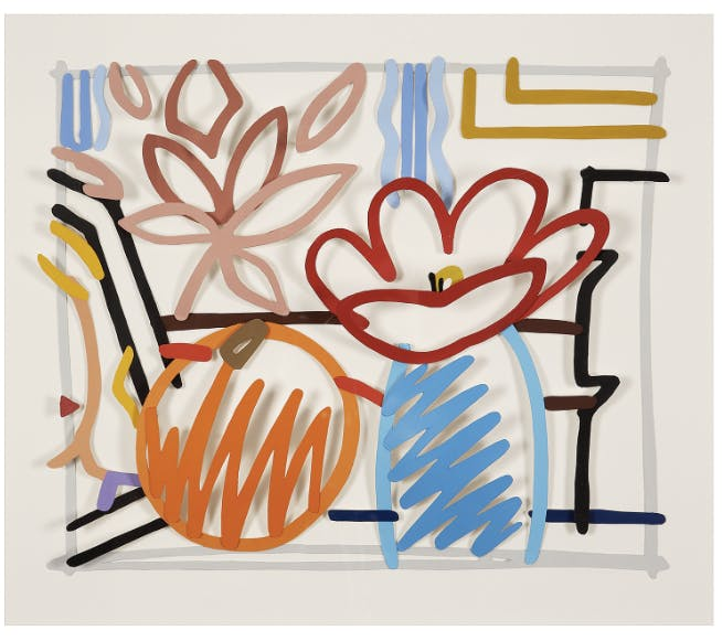 Tom Wesselmann (1931-2004). Maquette for still life with orange and tulip doodle (3D), 1987. Liquitex on Bristol Board; signed and dated 87 lower right. 15 x 18 1/2 in