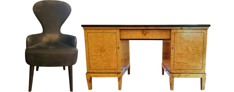 From Left: Tom Dixon Wingback Dining Chair and Mid-19th Century Biedermeier Inlaid Partners Desk.