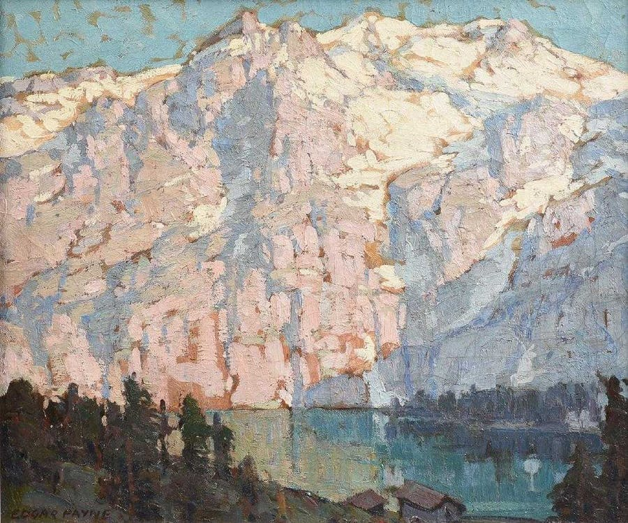 Edgard Payne, 'Pink and Violet Mountains with Lake Front Houses'. Foto: Simpson Galleries