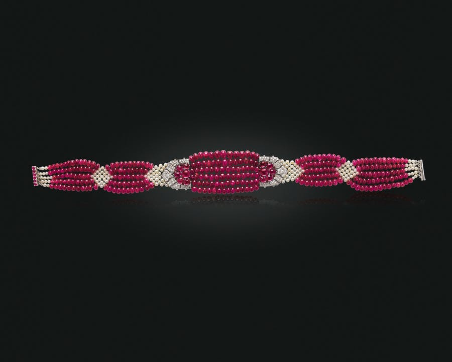 The Patiala ruby choker: an Art Deco ruby, diamond and natural pearl choker necklace, Cartier, 1931.