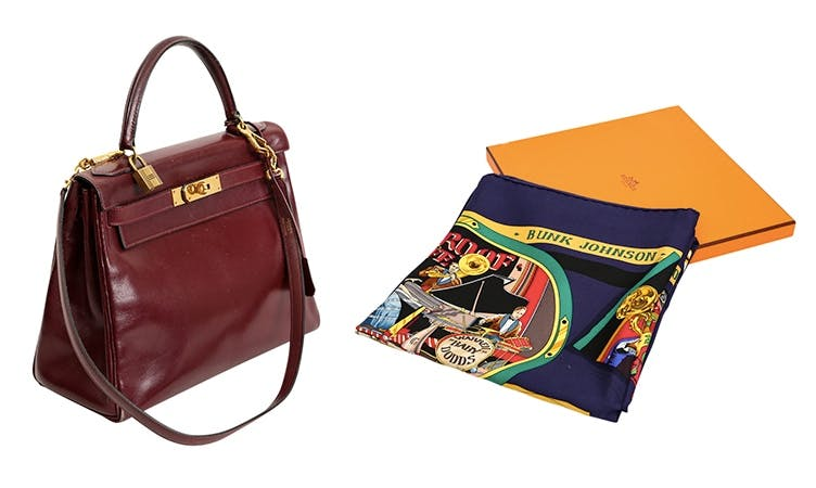 "Links: HERMÈS Vintage Kelly Bag Rechts: HERMÈS Seidencarré ""New Orleans Creole Jazz"""