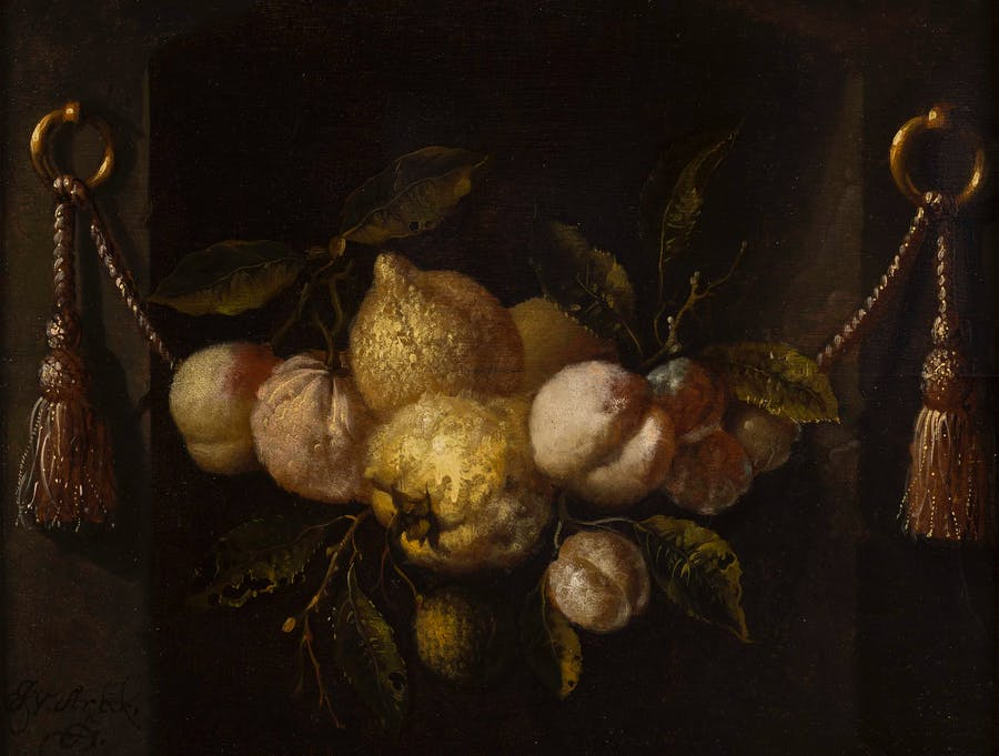 Lot 18  JURIAEN VAN STREECK (DUTCH 1632-1687) | A STILL LIFE OF LEMONS, PEACHES AND GRAPES IN A NICHE WITH SWAGS  Estimation £5,000-7,000
