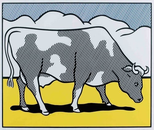 Roy Lichtenstein, « Cows Going Abstract », 1980, lithographie, image ©Alyes Auctions