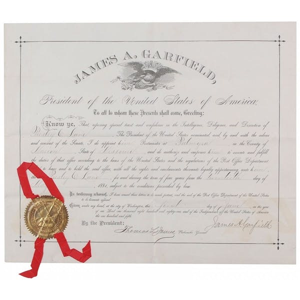 Rare James Garfield Document Signed As President
