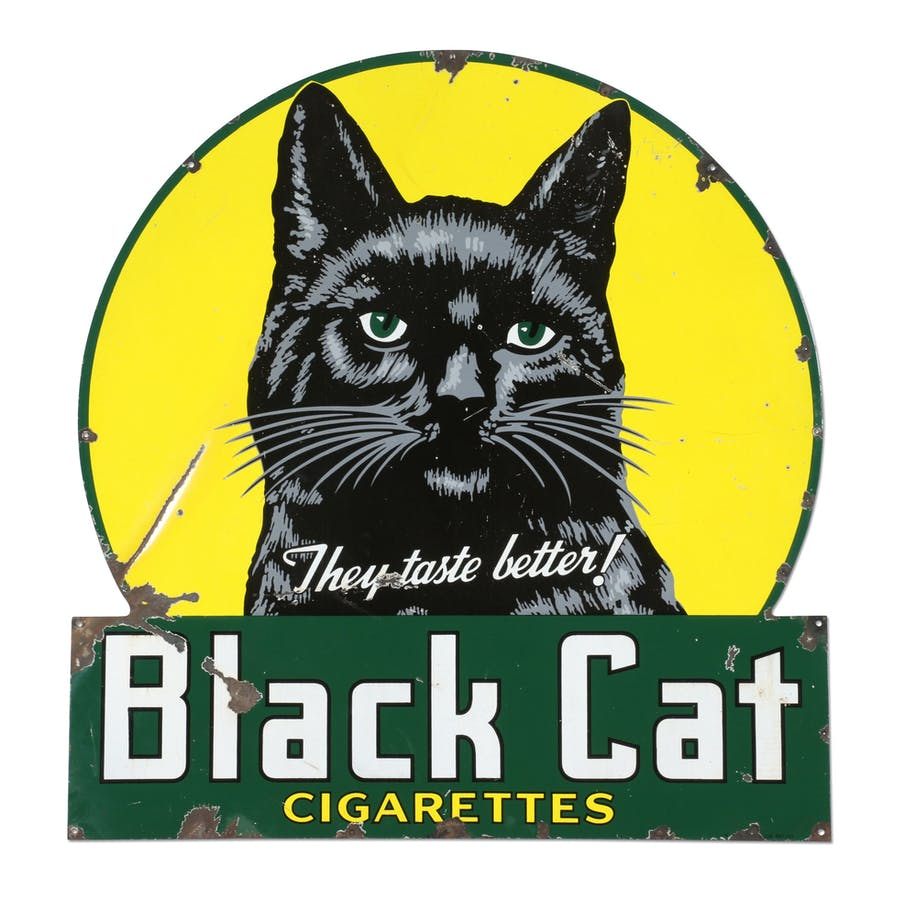 """Canadian 1945 Black Cat Cigarettes porcelain sign, 50 inches by 48 inches, with high detailed graphics and marked """"P&M Orilla 45"""" lower right edge (est. CA$3,000-$5,000)."""