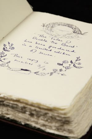 """J.K Rowling, """"The Tales of Beedle the Bard translated from the original runes"""", 2007 Image via Sotheby's"""