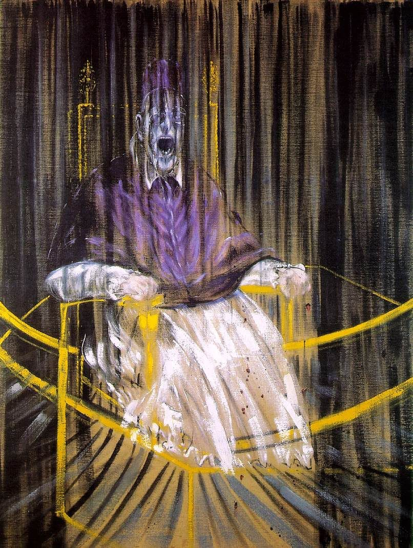 Francis Bacon, After Velazquez Pope Innocent X, 1953, image via Wikipedia