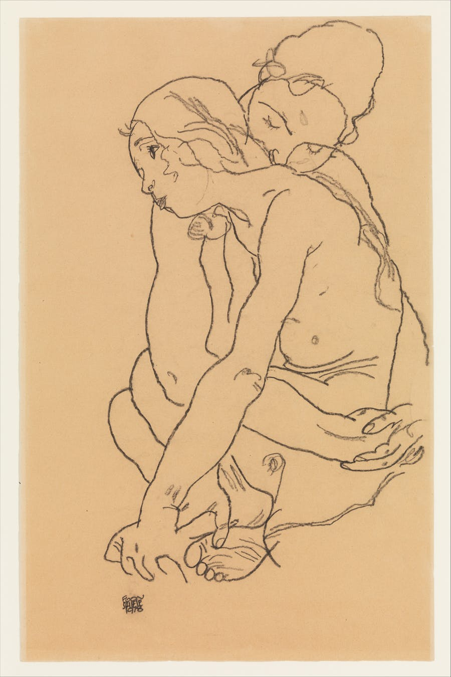 "Egon Schiele, ""Woman and girl embracing"", 1918. Foto: © Metropolitan Museum of Art"