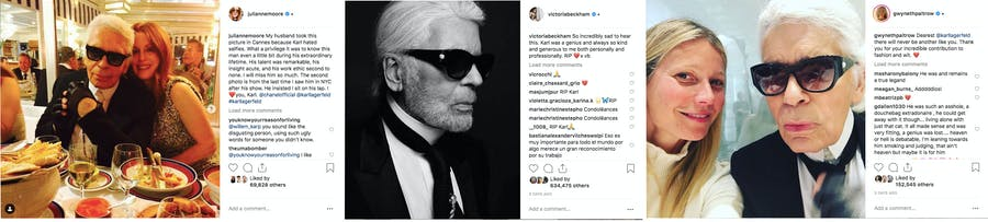 Celebrities such as Julianne Moore, Victoria Beckham and Gwyneth Paltrow took to Instagram to give their farewells to Karl Lagerfeld after his passing on Tuesday 19 February, 2019