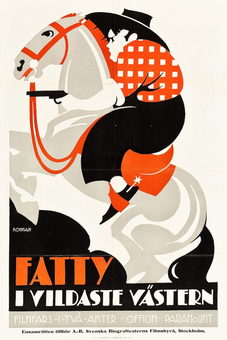 "Fatty i vilda västern (Out West) Paramount, 1919. Swedish One Sheet (23.5"" X 35""). Utrop: 25 000 sek. Heritage Auctions."