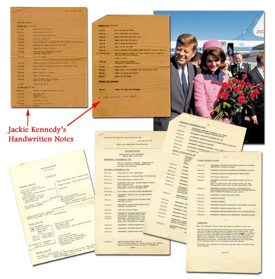 Official schedules for President Kennedy and Jackie Kennedy during their fateful visit to Dallas, Texas on Nov. 22, 1963, including Jackie's signature in initials (est. $15,000-$17,000).
