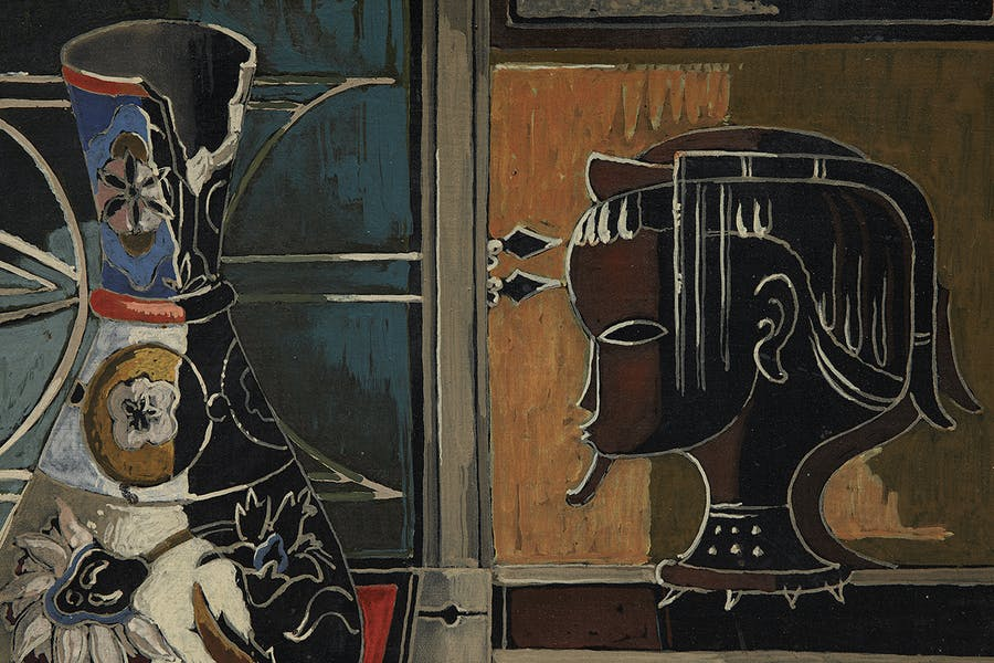 Alexis Preller South African 1911-1975 Still-life with Vase and Carved Head 1956