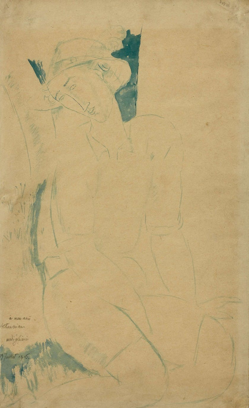 Amedeo Modigliani, 'Jeune homme assis au chapeau (Young man seated with a hat)'. Photo: Artcurial