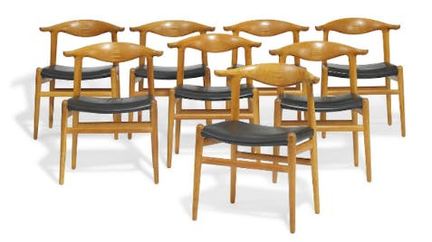 "Six fauteuils ""Cowhorn Chair"" par Hans J. Wegner"
