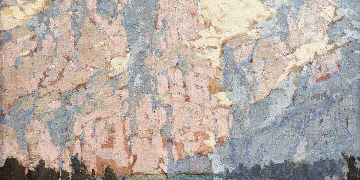 Edgard Payne, Pink and Violet Mountains with Lake Front Houses, image ©Simpson Galleries