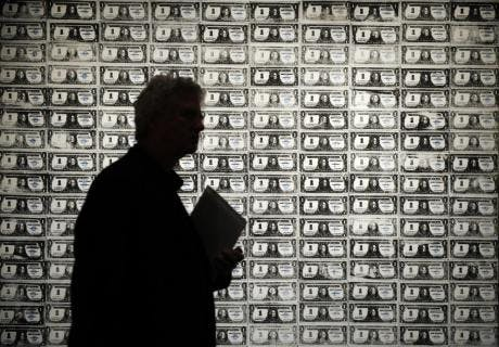 "200 One Dollar Bills"" by Andy Warhol is on display during a preview of Sotheby's impressionist and modern art sale in New York, October 30, 2009. AFP PHOTO/Emmanuel Dunand (Photo credit should read EMMANUEL DUNAND/AFP/Getty Images)"