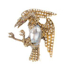 Broche or, diamants et perles