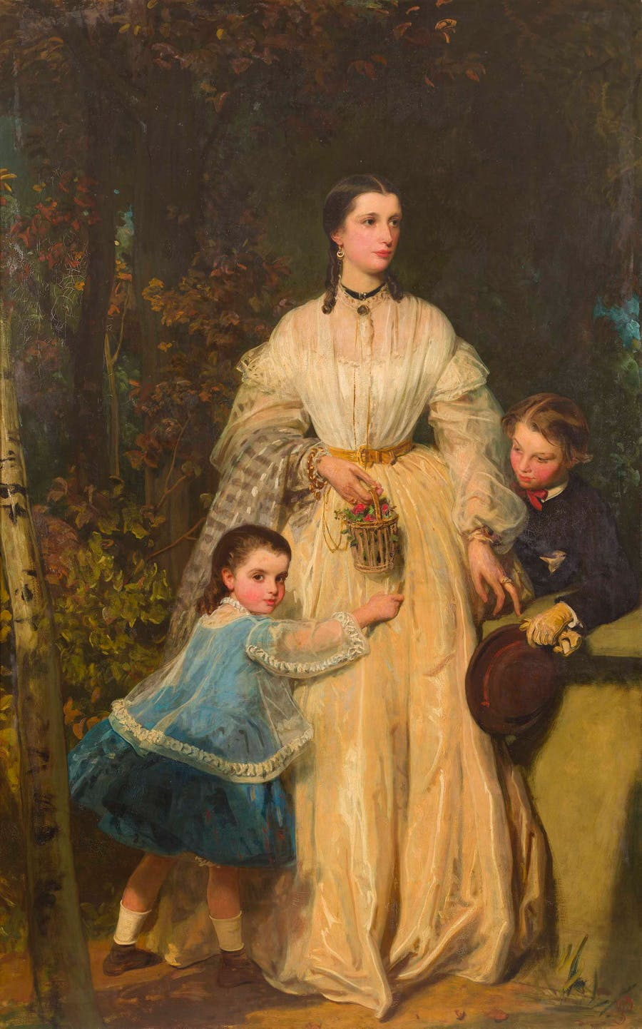 Lot 20  JAMES SANT (BRITISH 1820-1916) | FULL LENGTH PORTRAIT OF MARY FOTHERGILL AND HER CHILDREN RICHARD AND MARY  Estimation £6,000-8,000