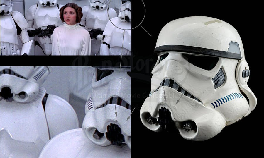 'Star Wars: A New Hope' (1977), Screen-matched Tantive IV Stormtrooper Helmet. Photo: Prop Store