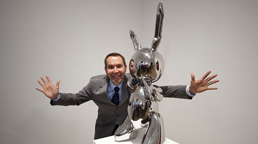 "Jeff Koons poserar med ""Rabbit"" på Tate Modern nel år 1986. Foto: Art Now and Then."