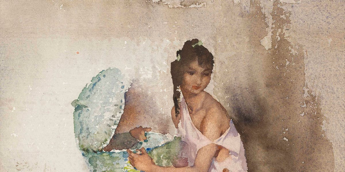 Lot 72  SIR WILLIAM RUSSELL FLINT, PORTRAIT OF NICOLETTE Estimation £8,000-12,000