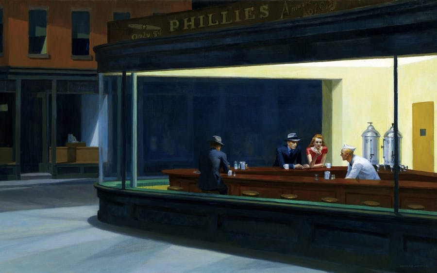 "Edward Hopper, ""Nighthawks"" år 1942. Foto via Wikiart."