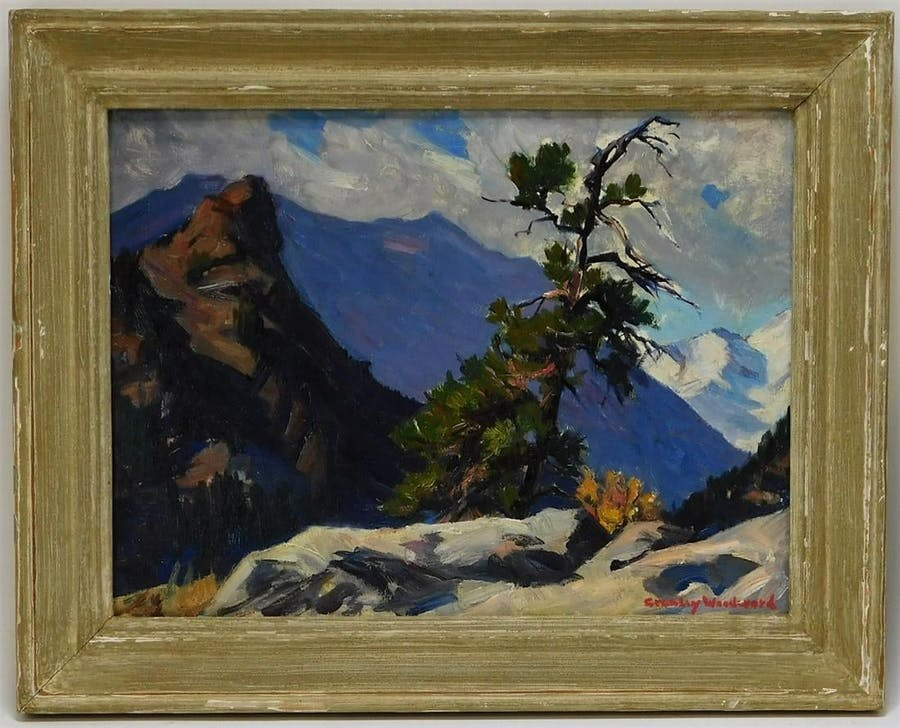 Impressionist landscape painting by Rockport community artist Stanley Woodward (Mass., 1890-1970) of a rocky trail through the White Mountains of New Hampshire (est. 1,500-$2,500).