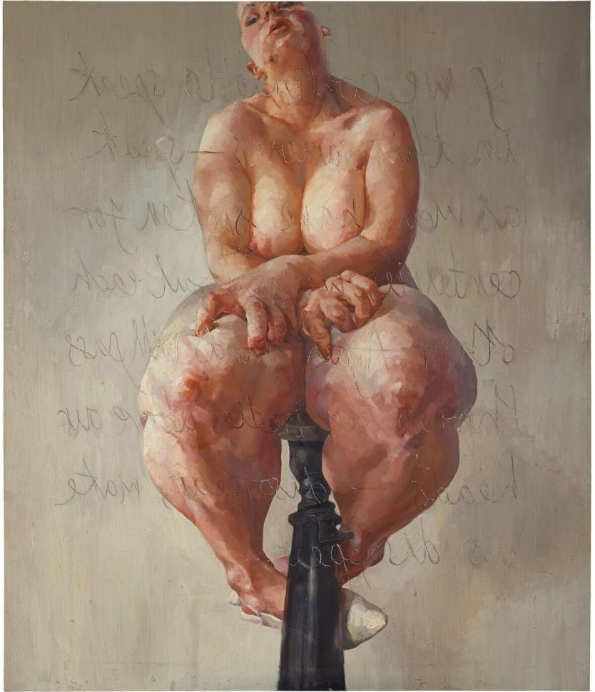 Jenny Saville, «Propped», huile sur toile, 1992, image ©Sotheby's