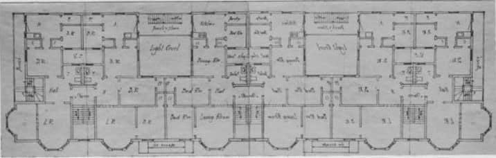 The architectural plan for the Loeb apartments