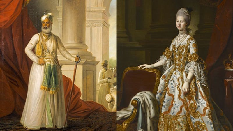 Left: Muhammad Ali Khan Wallajah, Nawab of Arcot, George Willison, 1777. Right: Portrait of Queen Charlotte, Nathaniel Dance-Holland, 1768