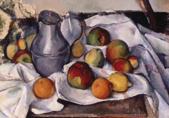 Cézanne, 'Kettle and fruits'. Bild: Artnet