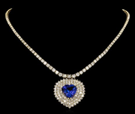 Collier tanzanite et diamants