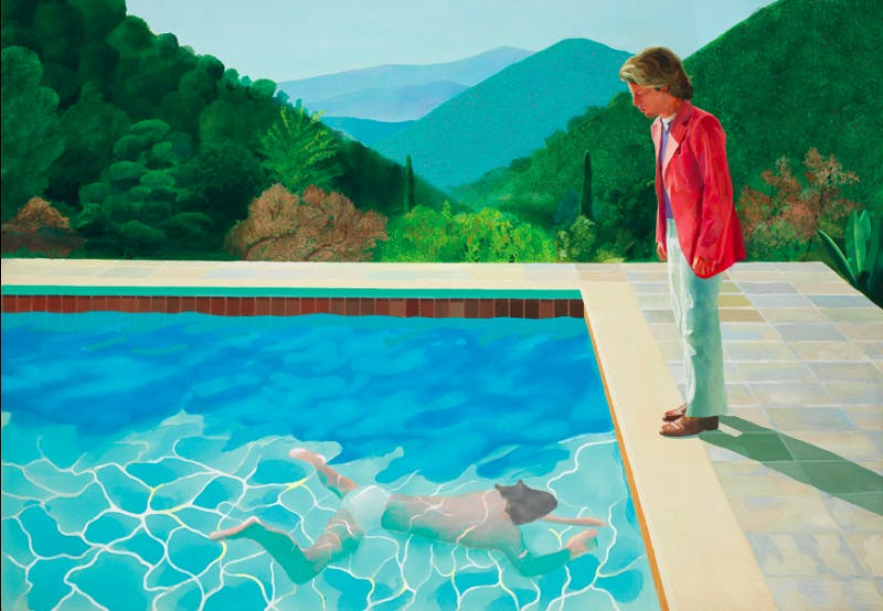 DAVID HOCKNEY. Portrait of an Artist (Pool with Two Figures). Acrílico sobre lienzo (1972). Imagen vía: Christie's