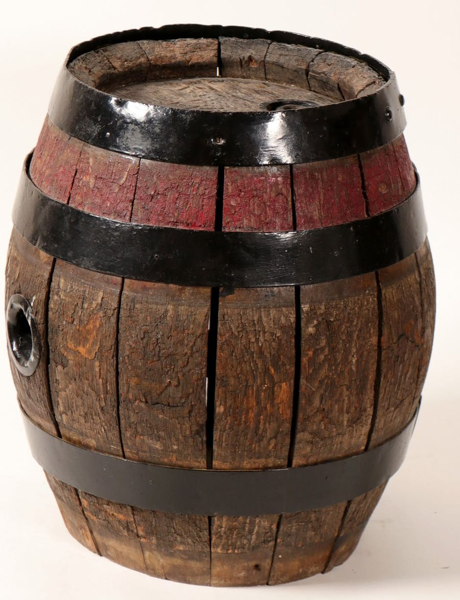 Small Acme Breweries TA (San Francisco) wooden beer barrel, 19 inches by 16 inches, with a nice dark patina (est. $300-$500).