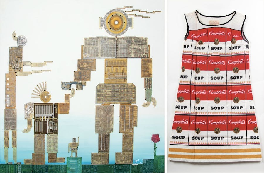 Links: PETRUS WANDREY (1939 Dresden - 2012 Hamburg) - Circuit Family, Collage aus Leiterplatten/Holz, betitelt, signiert und datiert, 1988 Rechts: ANDY WARHOL (1926 Pittsburgh - 1987 New York) - Campbell's Souper Dress, Farbserigraphie/Baumwoll-Cellulose-Kleid, 1966/67