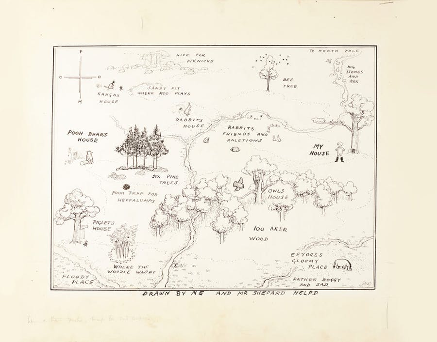 Carte originale « The Hundred Acre Wood » par Shepard, image ©Sotheby's
