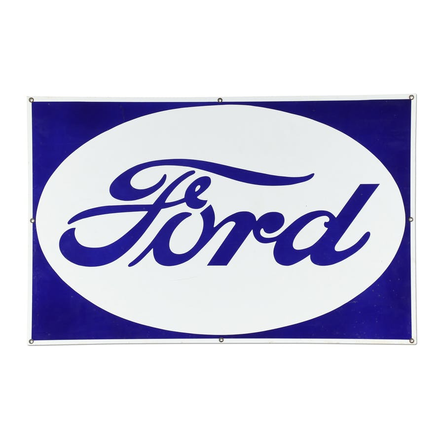 American-made Ford Dealer porcelain sign from the 1930s or '40s, made by Veribrite Signs (Chicago), 39 inches by 25 inches (est. CA$1,500-$2,000).