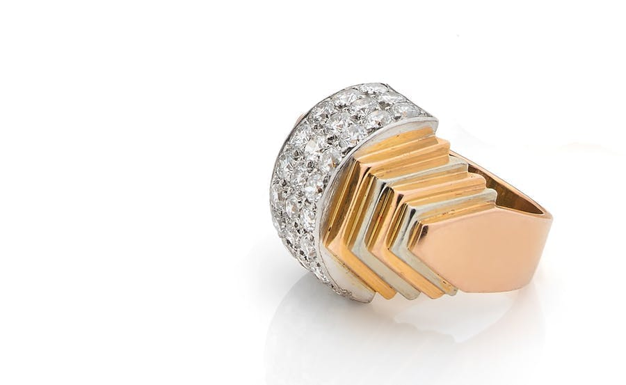 René Boivin, 'tiered roller' ring, round diamonds, 18k yellow and gray gold. Photo: © Aguttes