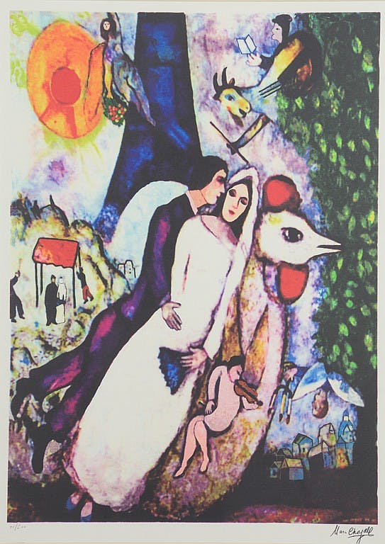 "Marc Chagall ""Bride and Groom"". Utrop: 1,300 SEK. Morton Auctioneers and Appraisers"