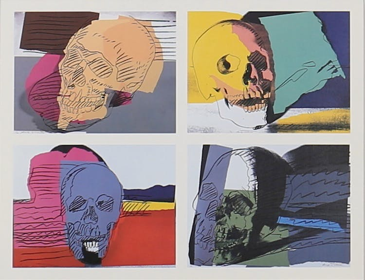 "VERNISSAGEKORT. Andy Warhol ""Skulls"" Offsettryck. Brooke Alexander Editions. New York. Utropspris: 600 SEK. Garpenhus konst & auktion."