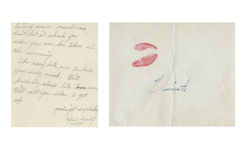 Sealed by a kiss – Judy Garland autograph to Vincente Minnelli. Photo: Profiles in History.