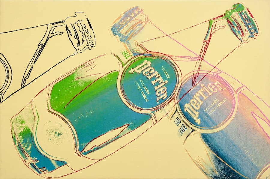 Perrier Bottles, Andy Warhol. 1983, Synthetic polymer and silkscreen ink on canvas