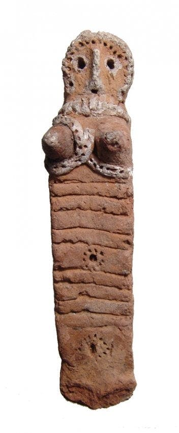 Near Eastern terracotta fertility figure (circa 1200-600 BC), the body rectangular with square profile, face detailed with recessed eyes and a prominent nose (est. $400-$700).