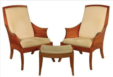 """Thomas Moser cherry suite of """"Wing"""" chairs and matching footrest, 2004"""