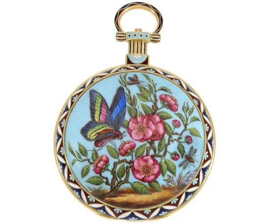 """Bovet Emaille-Taschenuhr """"The Butterfly"""", London ca. 1830   Foto: Cortrie"""