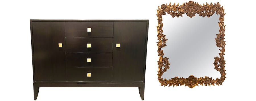 From Left: Arteriors Elle Credenza and Louis XV Style Laurel Leaf Rectangular Mirror.