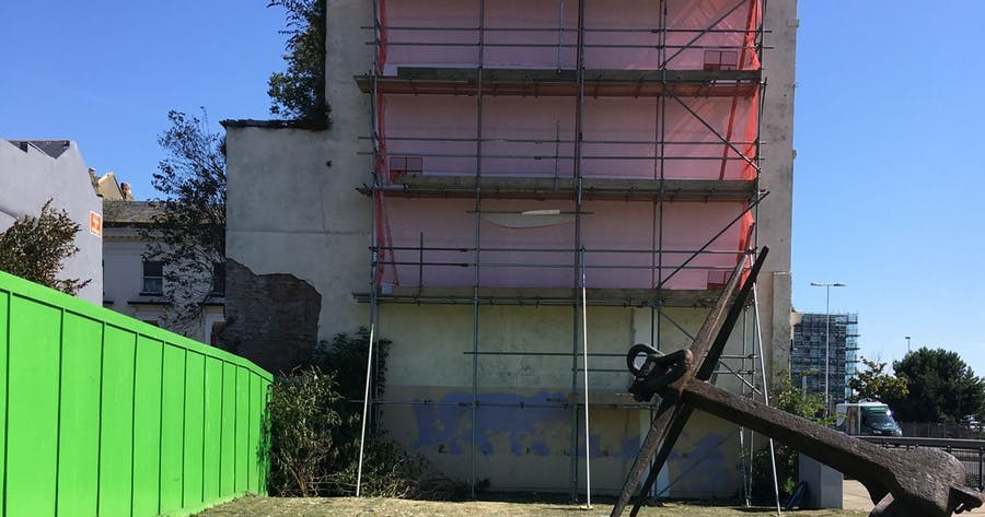 The scaffolding in front of Banksys Brexit works in Dover. Photo: David Joseph Wright