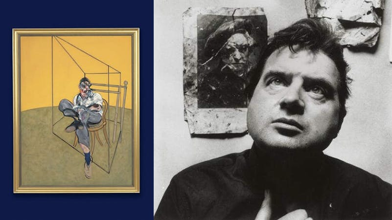 Links: Three Studies of Lucian Freud, 1969 | Foto: Christie's || Rechts: Francis Bacon | Foto via Brain Pickings