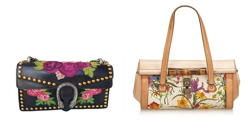 Links: Gucci Embroidered Studded Dionysus Rechts: Gucci Canvas Bamboo Bullet Bag